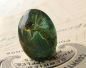 Absithe Fairy, artisan crafted glass oval cabochon, emerald green fairy, 25x18mm 25x18 18x25mm 18 25 18x25  Absynthe mystical magical
