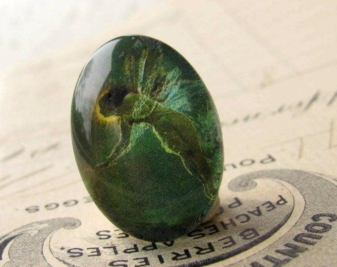 Absinthe Fairy, artisan crafted glass oval cabochon, emerald green fairy, 25x18mm 25x18 18x25mm 18 25 18x25  Absynthe mystical magical