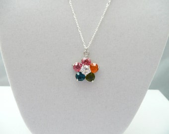 nnm-Multicolor Flower Charm Necklace