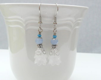 Blue and White Flower Beaded Dangle Earrings