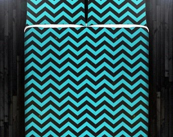 aqua turquoise blue chevron duvet cover bedding queen size king twin blanket sheet full double comforter