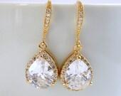 Crystal Gold bridal Earrings Wedding jewelry Cubic Zirconia Gold drop Earrings Gold Wedding Earrings, Kaly