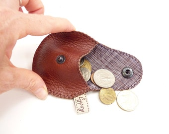 Men's Leather Change Purse / Coin Purse Mini Gypsy Guys / Argentine Leather and Cambodian Silk /  Ready to Ship
