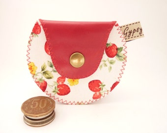 Strawberry Season and Red Leather Coin Purse / The Mini Gypsy Change Purse /  Argentine Leather and Strawberry Cotton Print.