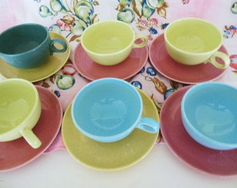 Mixed Up Pastel Cups & Saucers 12 pcs PInk Blue chartruese