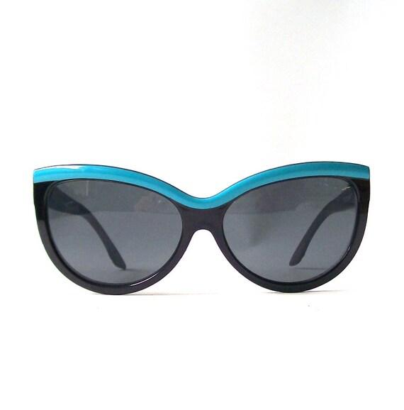 Aqua Blue Glasses Frames : vintage womens black sunglasses aqua blue by RecycleBuyVintage