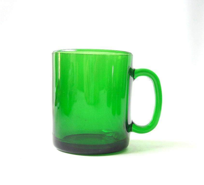 Vintage Green Glass Coffee Mug France Duralex Serving Cup