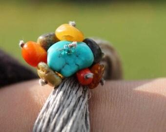Multi Strand Bracelet  Linen Fiber Jewelry Raw Stone Spring Fashion Piryte Turquoise  Amber Yellow Orange Green Teal Blue Magnetic Clasp