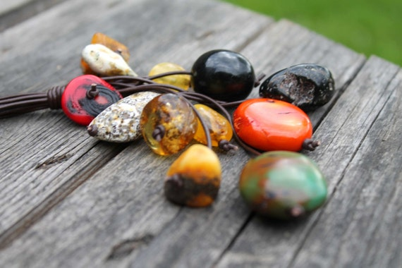 Raw Stone Long Necklace Turquoise Pendant Summer Fashion Jewelry Cluster Necklace OOAK Huge Baltic Amber Orange Coral Teal Blue Honey Yellow
