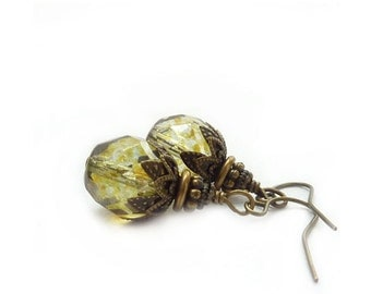 Moss Green Earrings - Czech Fire Polished Glass - Bronze Antique Style - Sage Olive - Earthy Colors - Rustic Jewelry