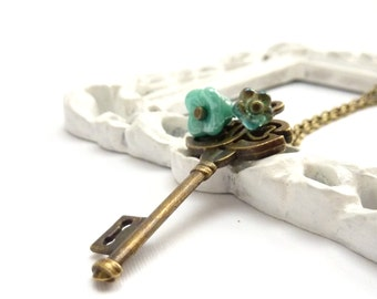 Skeleton Key Pendant - Vintage Style Brass Layering Necklace - Turquois Glass Flowers- Romantic Jewelry - Gift for Her