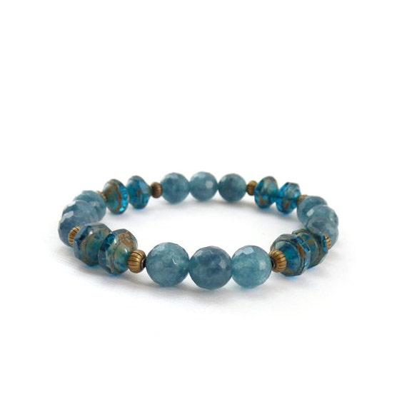 RESERVED for Mary-Ann - Blue Beaded Bracelet, Stacking Bracelet, Denim Blue, Faceted Agate Stones