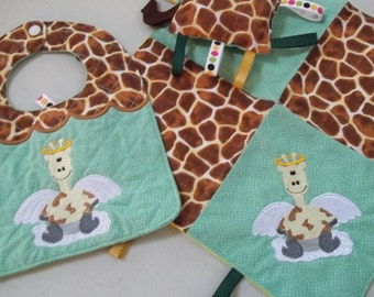 Embroidered Baby Gift Set, Baby Bib, Lovey Blanket, Tag Toy, Giraffe Print Baby Gift, Green, Brown, Yellow, Set, Baby Shower Gift Set