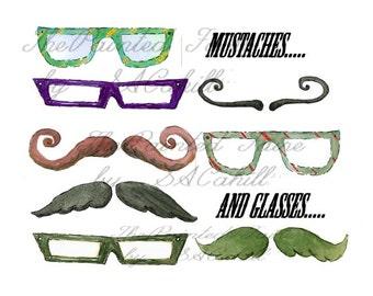 Mustache clip art. father's day clip art, glasses clip art, dad clip art, mustache graphics, glasses graphics