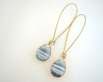 Long Gray Blue Glass Dangle Earrings, Vintage Dangle Earrings, Long Brass Earrings, Blue Earrings, Brass Drop Earrings, Stripe Earrings