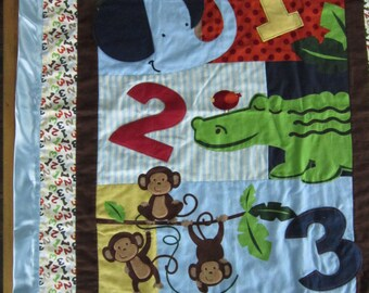 Satin Edged Baby Blanket With Monkeys
