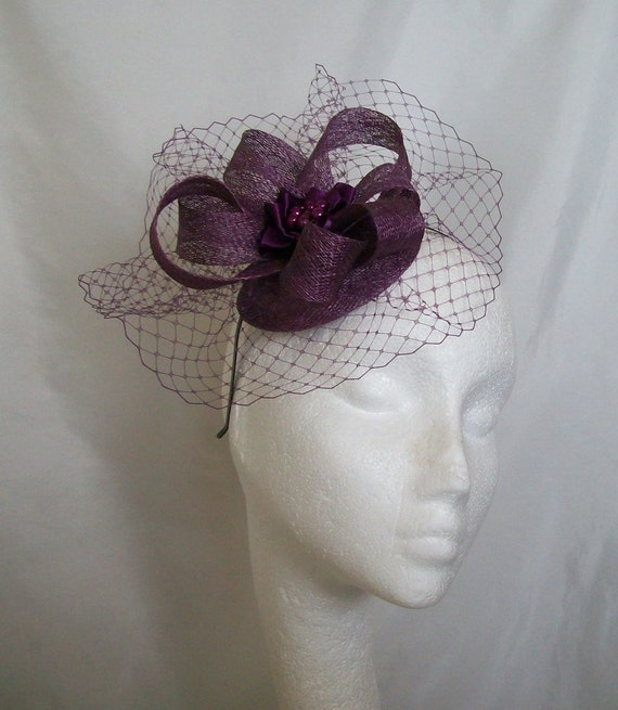 Pale Amethyst Purple Veil Sinamay Loop & Pearl Rhinestone Wedding Elegant Percher Fascinator Mini Hat - Custom Made to Order