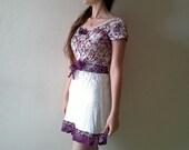 Purple Cream upcycled mini dress, upcycled clothing, pixie bow and ruffle tunic, bow dress