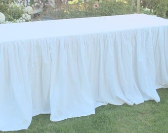 White Cotton Ruffled Tablecloth