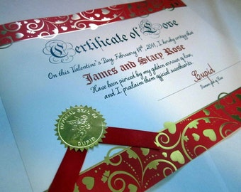 Personalized Cupid Valentine Love Certificate
