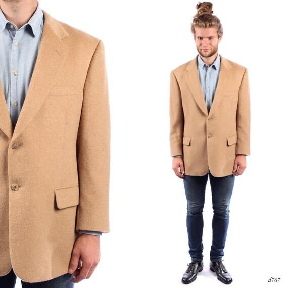 Mens PEA Coat . 80s Vintage Camelhair Blazer Preppy Jacket Ivy