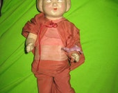 1900s  antique  all original Parian Bisque Head Cloth Body Doll marked   T