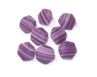 8 Grape Purple and White Striped Vintage Glass Buttons 11mm Set Sewing Buttons