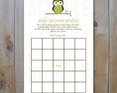 Owl Baby Shower Bingo Game  Cards / Green Owl  / Instant Download / PRINTABLE / 92300