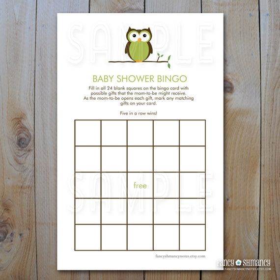owl baby shower bingo game cards green owl instant download