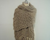 Knitted Chunky Light Brown Cowl Scarf and Wrap