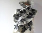 Felted scarf Grey scarf ruffle collar, wet felted ruffle scarf ,  White Black grey collar by Galafilc