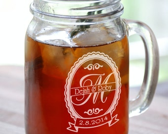 Personalized Monogram Wedding  Anniversary Mugs 16 Oz Mason Jars Engraved Gift for Groomsmen Bridesmaid Favor Idea Custom Etched Glass