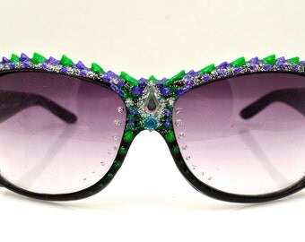PUFF PAINTED SUNGLASSES Green, Purple and Silver Glitter Paint with Silver Teardrop Gem. Funky Shades