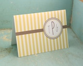Stripes Monogrammed Stationery - Striped Personalized Stationary Set of 12 Custom Notecards Thank You Notes