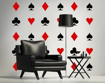 Heart Wall Decal, Card Suit Wall Decal, Diamond Wall Decal, Playing Cards Decal, Unique Wall Art, Mod Wall Decal, Man Cave Wall Decor
