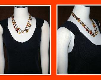 Earth Tone Color Necklace, Four Strands,  Vintage 1980's