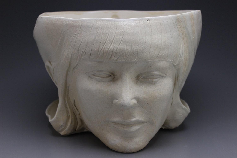 Planter Head Sculpture Face Pottery Goddess Art By Adrienart