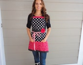 "Cherry Berry Red ~   ""Pockets & More Barbie Style""  Women's  Apron  - 4RetroSisters"