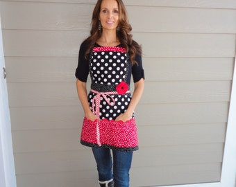 "Cherry Berry Red   ""Pockets & More Style""  Women's  Apron  - 4RetroSisters"