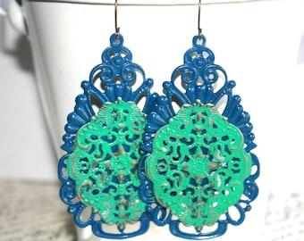 Bronze Filigree Teardrop Earrings, Blue and Turquoise Earrings, Handpainted Earrings, Boho Earrings Rustic Jewelry Dangle Earrings