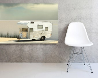 Large Canvas Vintage Trailer Mid Century Trailer in the Driveway  Gallery Wrapped Canvas