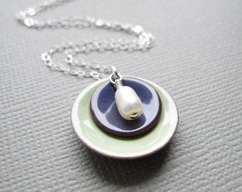 Tea Green Grape Purple Enamel Modern Minimalist Necklace White Pearl Sterling Silver