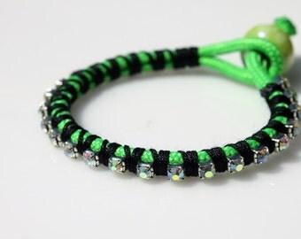 Rhinestone Chain Bracelet, Paracord Bracelet,  Friendship Bracelet, Teen Bracelet, Clear Rhinestones