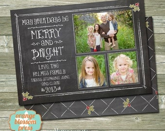 Chalkboard Photo Christmas Holiday Card, Merry and Bright, Holly, Vintage Christmas, Personalized Christmas Card, Costco Size Option