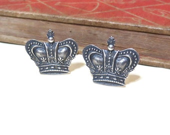 SALE Antiqued Silver Crown Cufflinks - Silver Ox Cuff Links Royal Royalty King Game of Thrones Emperor Imperial Prince Soldered CLEARANCE