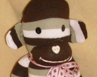 Chocolate cherry and caramel sock monkey toy SALE