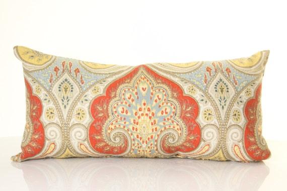 Bohemian Paisley Lumbar Pillow Linen Pillows By