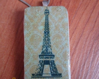 Green Eiffel Tower and Damask pattern. Domino Pendant. Clearance sale