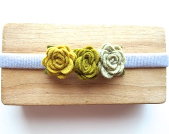 Simple Felt Flower Headband for Baby - Mini Rosettes - Mustard Yellow Grey Dove Gray - Garland Hair Band