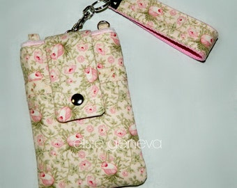 Vintage Roses Pink Phone Case with Wristlet Optional Shoulder Strap iPhone 4 5 6 Plus Note